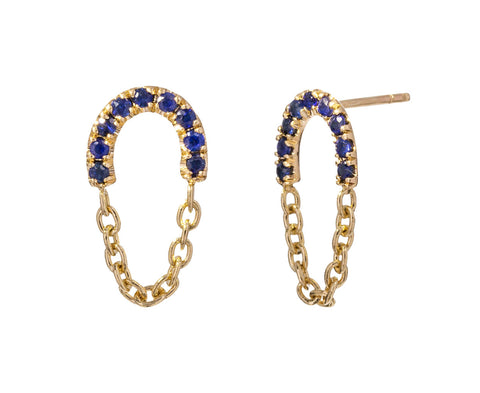 Blue Sapphire Chain Drop Earrings