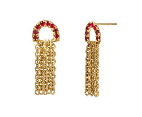 Ruby Chain Drop Earrings - TWISTonline