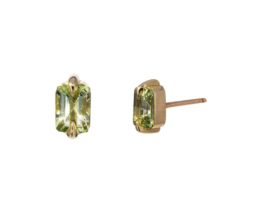 Pale Green Tourmaline Stud Earrings