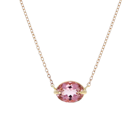 Peachy Pink Oval Tourmaline Pendant Necklace