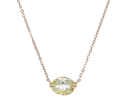 Oval Yellow Tourmaline Pendant Necklace