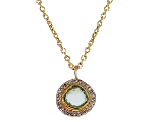 Mint Green Tourmaline and Diamond Halo Pendant Necklace
