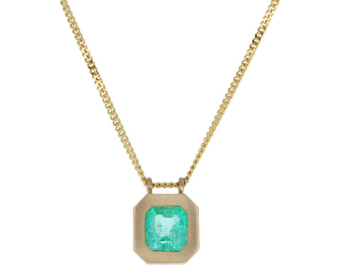 Square Colombian Emerald Pendant Necklace