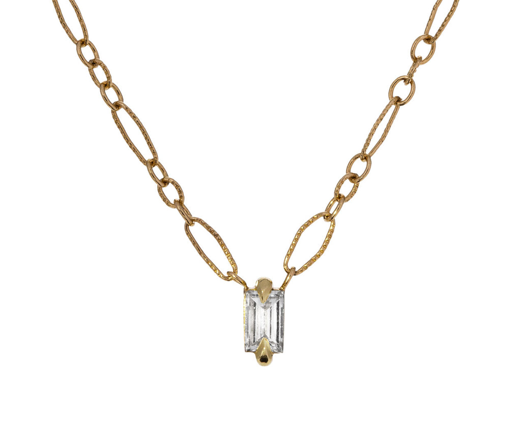 Petite Baguette Diamond Pendant Necklace