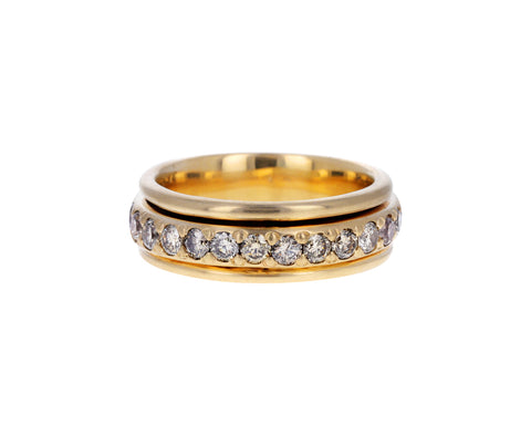 Wide Champagne Diamond Spinner Ring