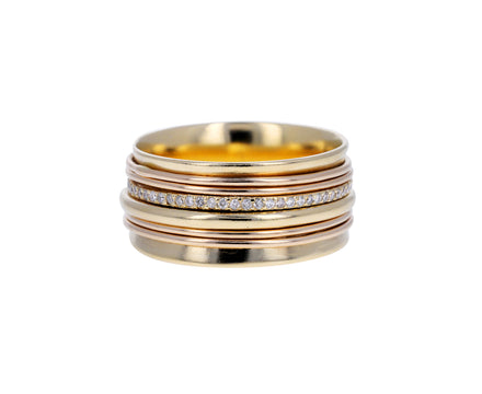 Gold and Champagne Diamond Spinner Ring