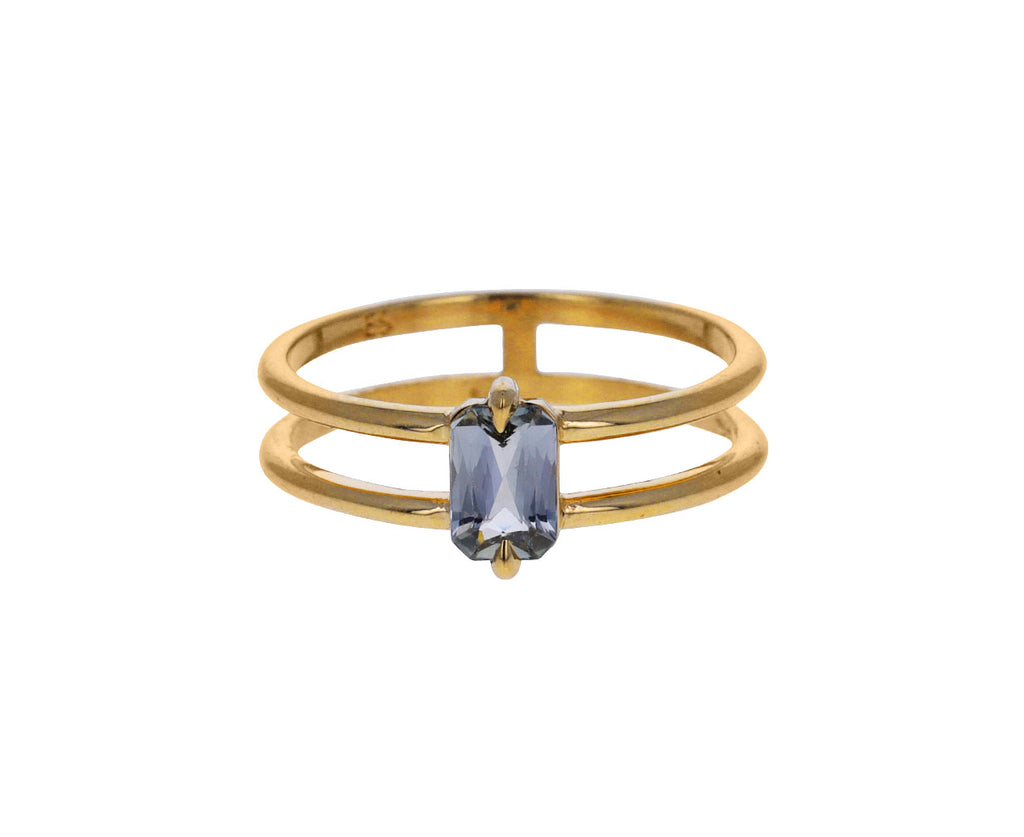 Pale Blue Sapphire Double Band Ring