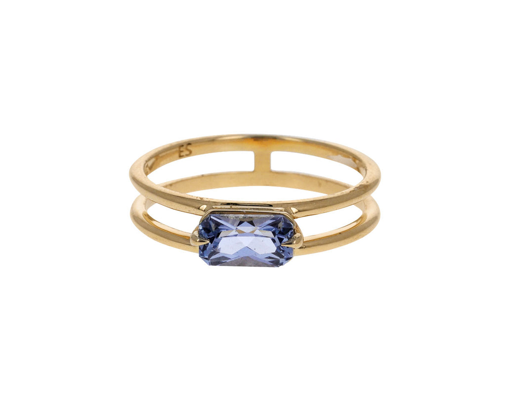 Icy Blue Sapphire Double Band Ring