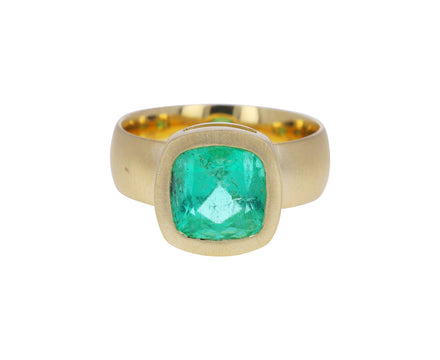 Cushion Cut Colombian Emerald Ring