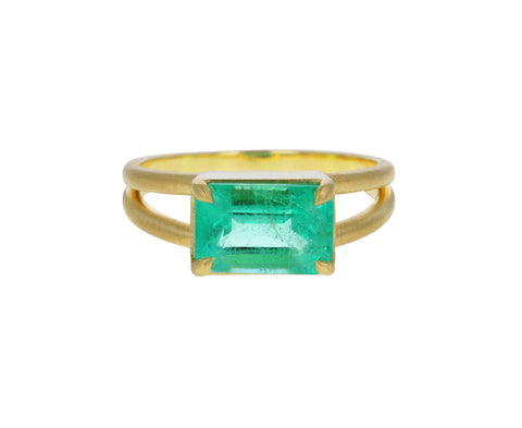 Rectangular Colombian Emerald Split Band Ring