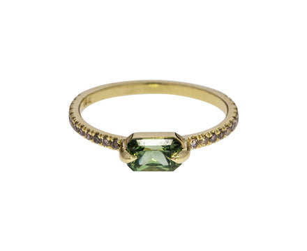 Green Sapphire and Champagne Diamond Ring - TWISTonline