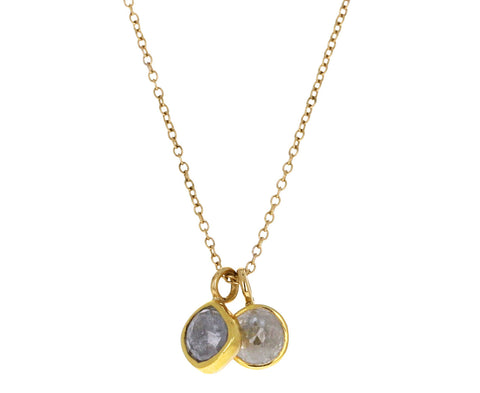 Double Gray Diamond Pendant Necklace