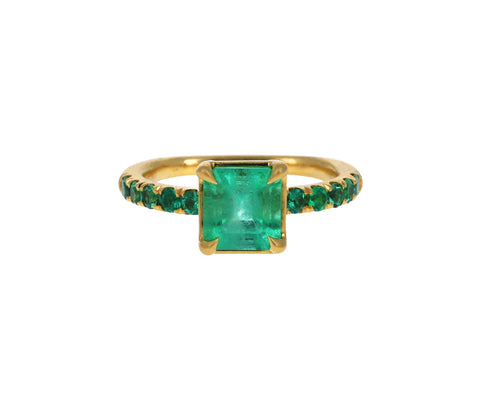 Square Colombian Emerald Solitaire Ring
