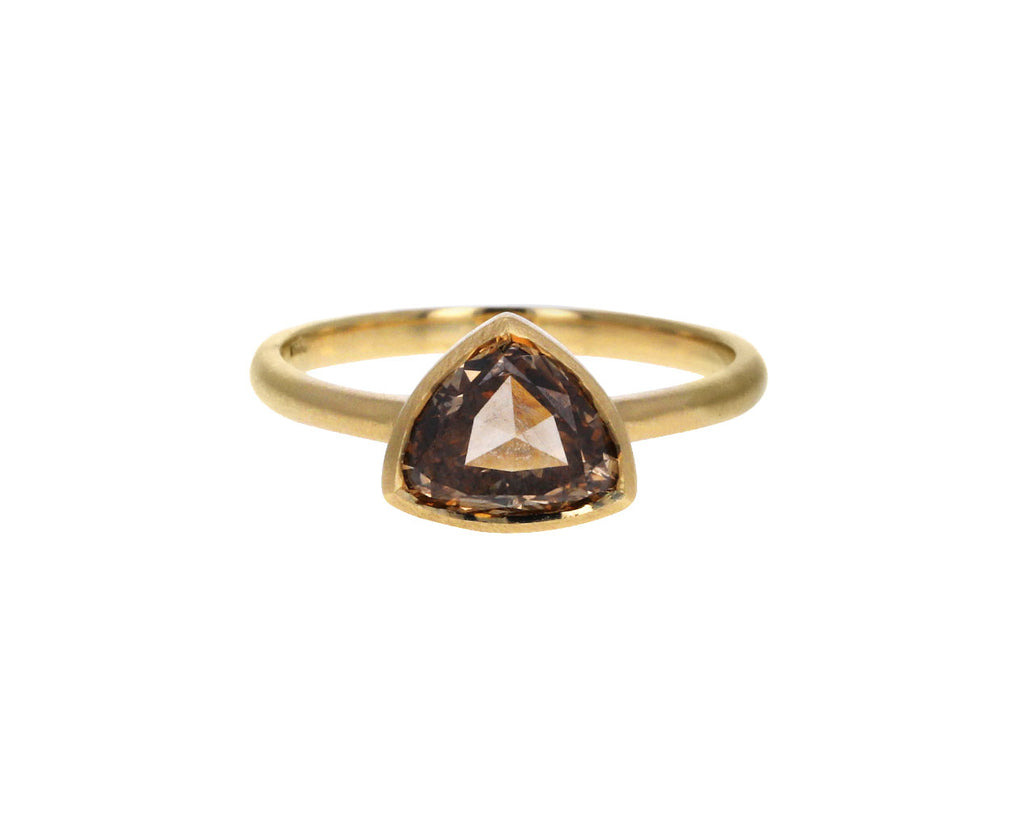 Trillion Cut Cognac Diamond Solitaire