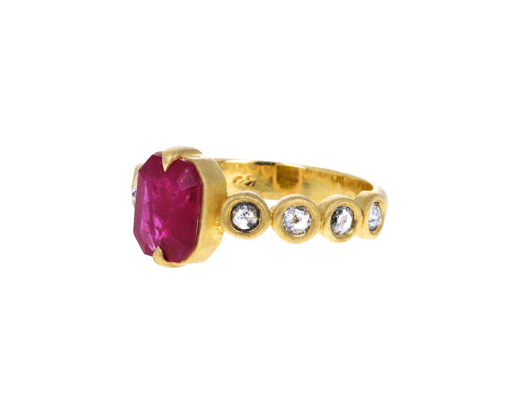 Ruby and Salt and Pepper Diamond Solitiare Ring
