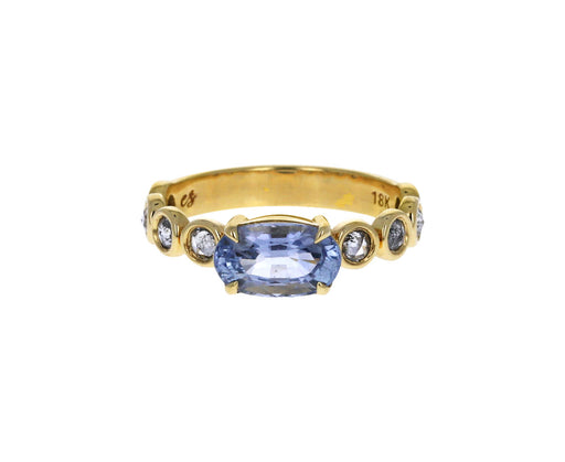 Pale Blue Sapphire with Salt and Pepper Diamonds Ring