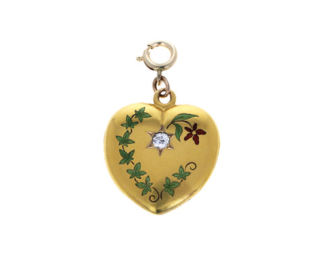 Gold Victorian Enamel Heart Locket ONLY