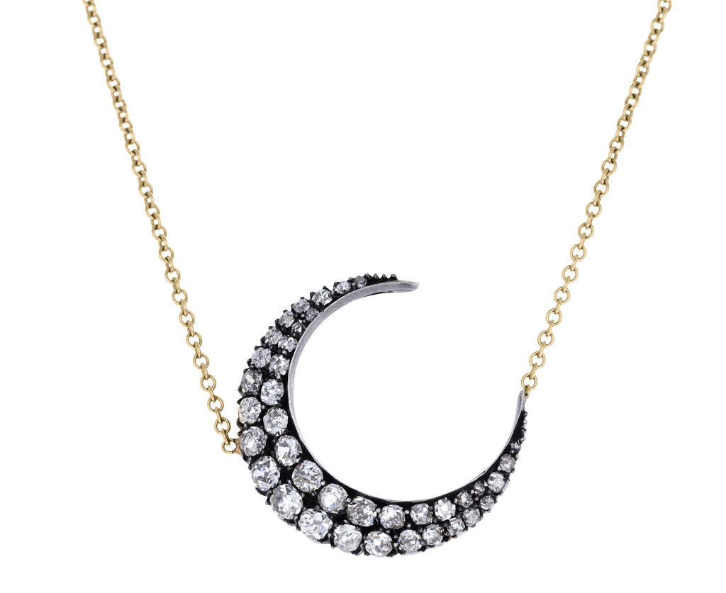 Old Mine Cut Diamond Crescent Pendant Necklace