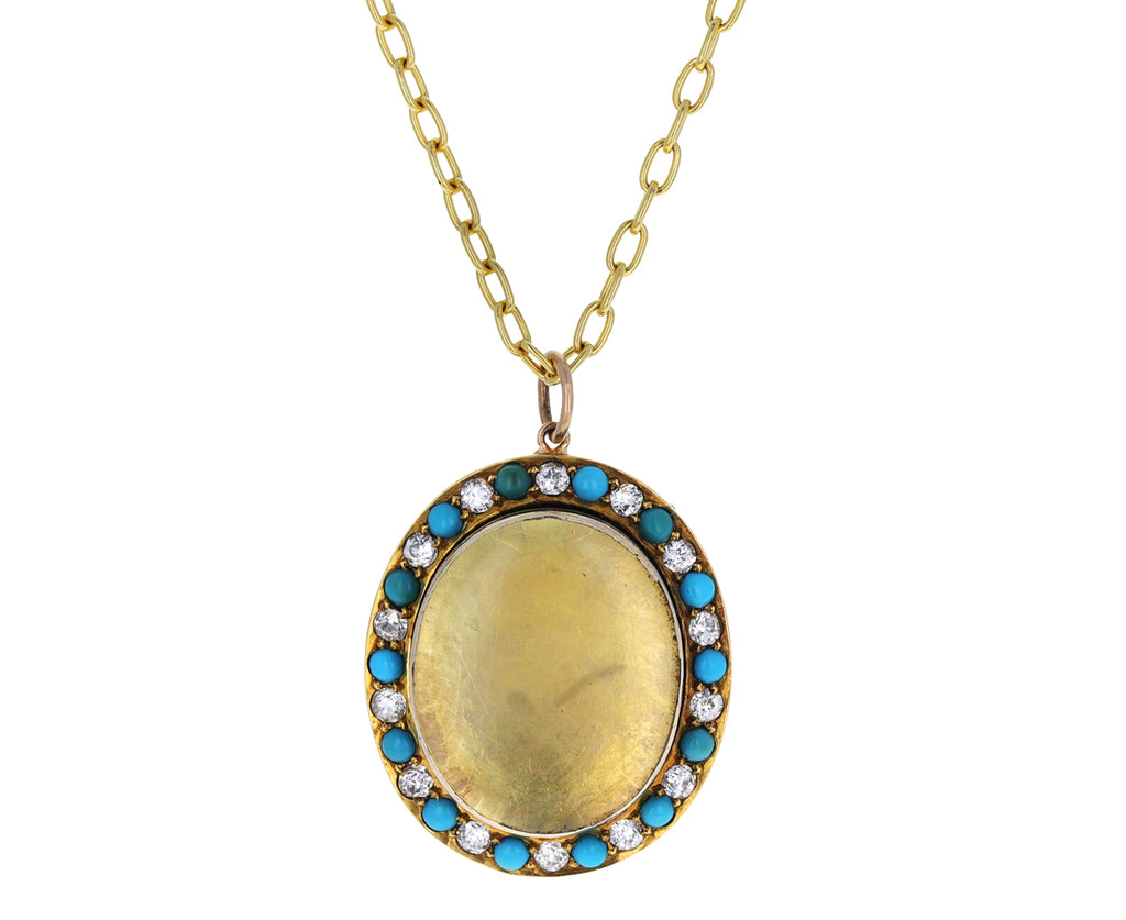 Vintage Victorian Turquoise and Diamond Locket Pendant ONLY
