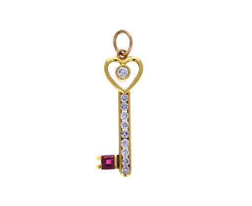Vintage Diamond and Ruby Key to My Heart Charm ONLY