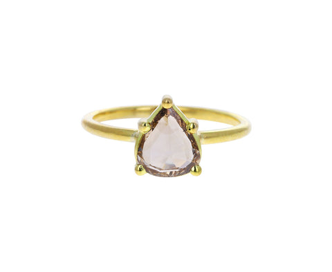 Pear Shaped Rose Cut Champagne Diamond Solitaire