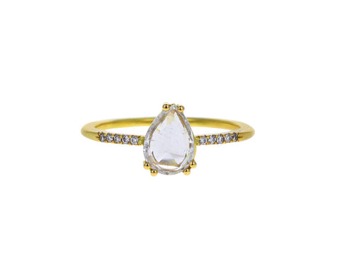 Rose Cut Pear Diamond Solitaire