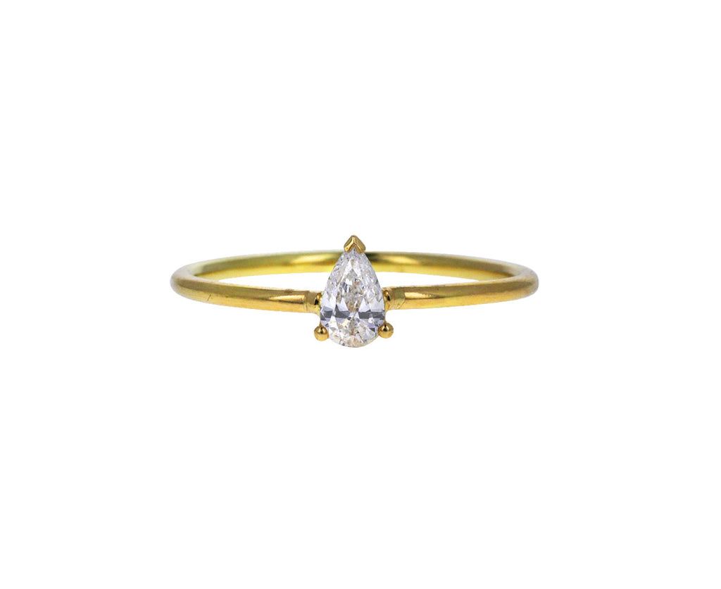 White Pear Cut Diamond Solitaire
