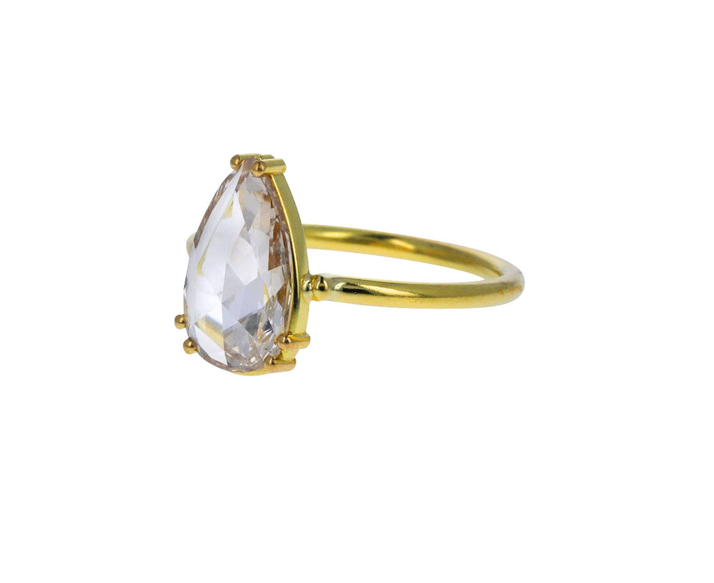 Champagne Rose Cut Pear Diamond Solitaire