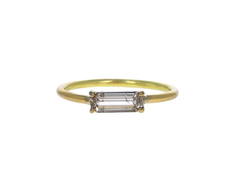 Pale Champagne Elongated Emerald Cut Diamond Solitaire