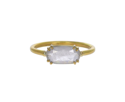 Opalescent Elongated Oval Diamond Solitaire