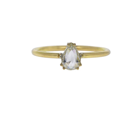 Pear Rose Cut Light Yellow Diamond Solitaire