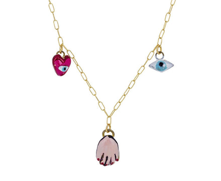 Eye Heart Evil Eye Hand Tiny Joys Necklace - TWISTonline