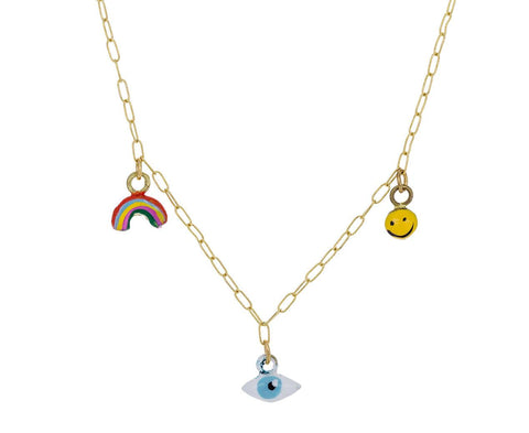 Rainbow Eye Smiley Face Tiny Joys Necklace - TWISTonline