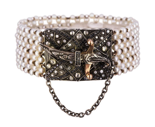 Mutli-Pearl Bracelet with Diamond and Dagger Closure - TWISTonline
