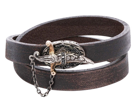Black Diamond Sword Closure Leather Bracelet - TWISTonline