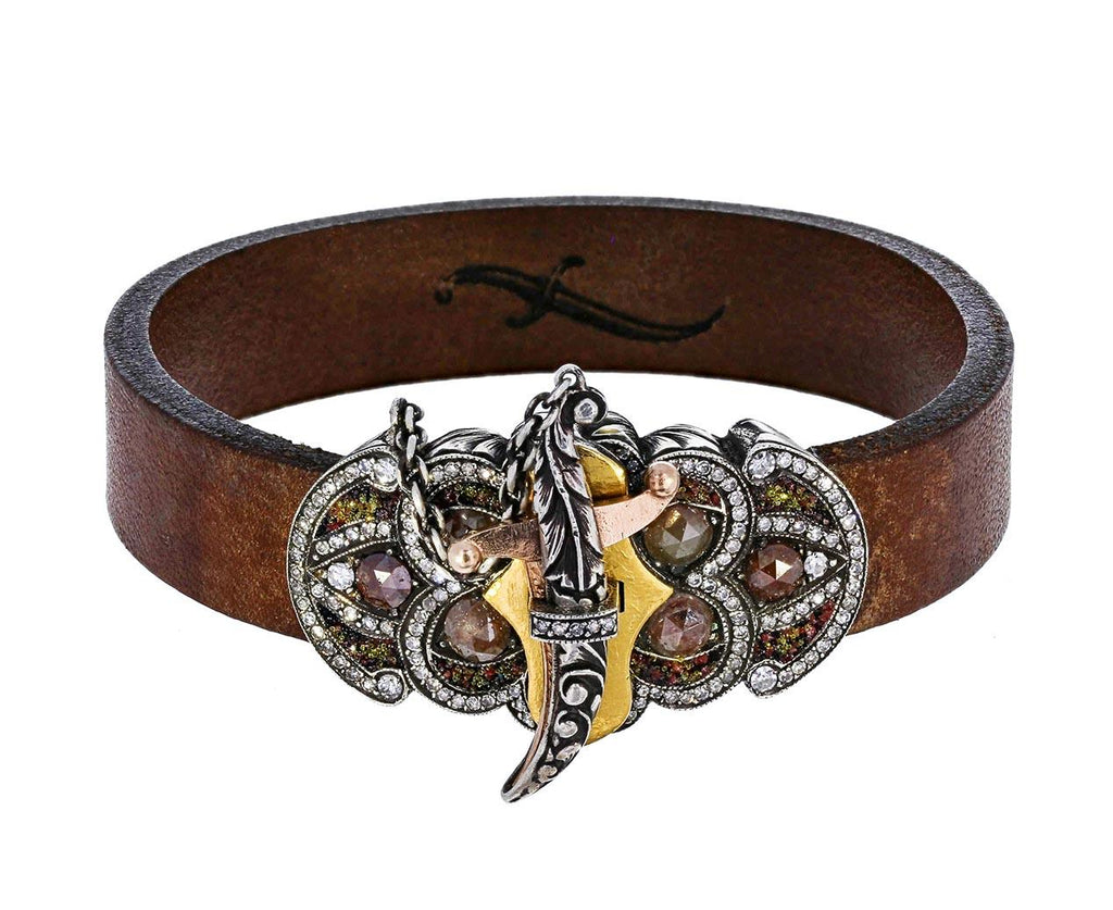 Diamond Sword Closure Leather Bracelet zoom 1_sevan_bicakci_leather_diamond_mosaic_shield_brac
