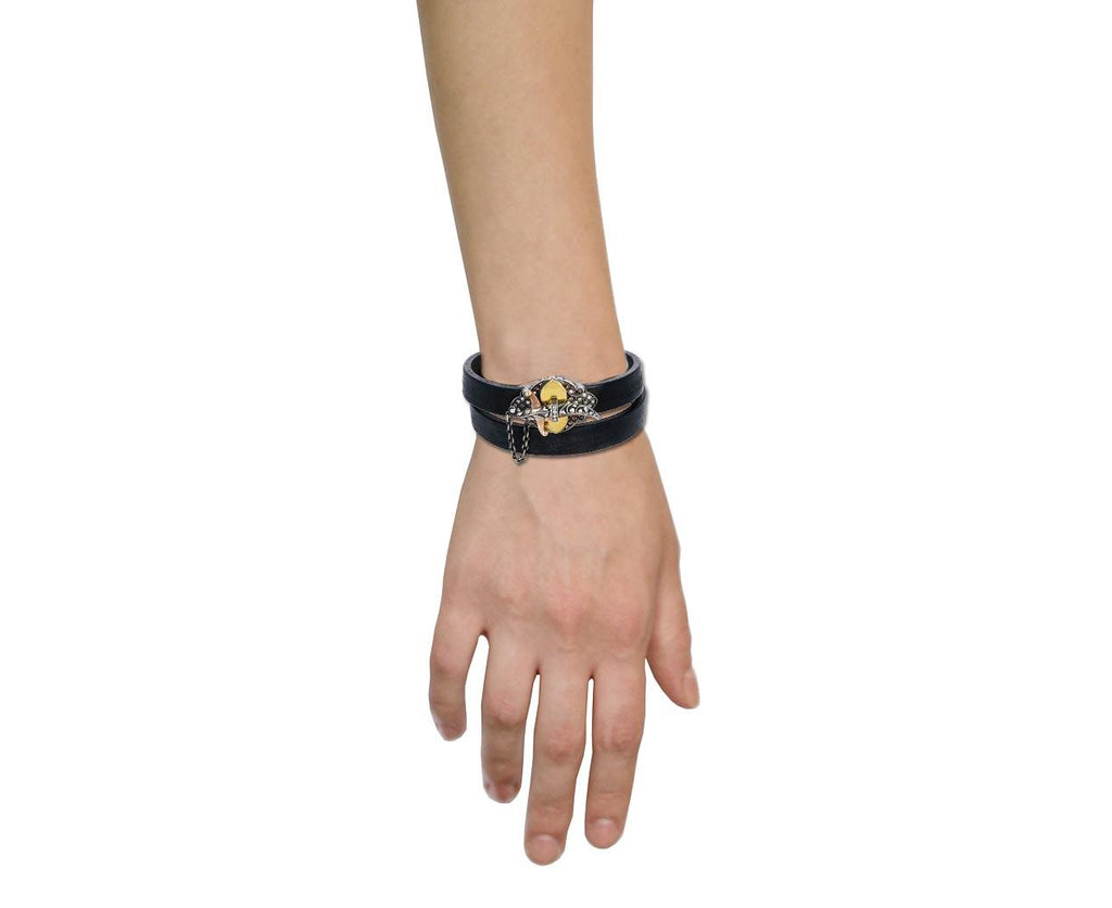 Fancy Colored and White Diamond Sword Closure Black Leather Bracelet - TWISTonline