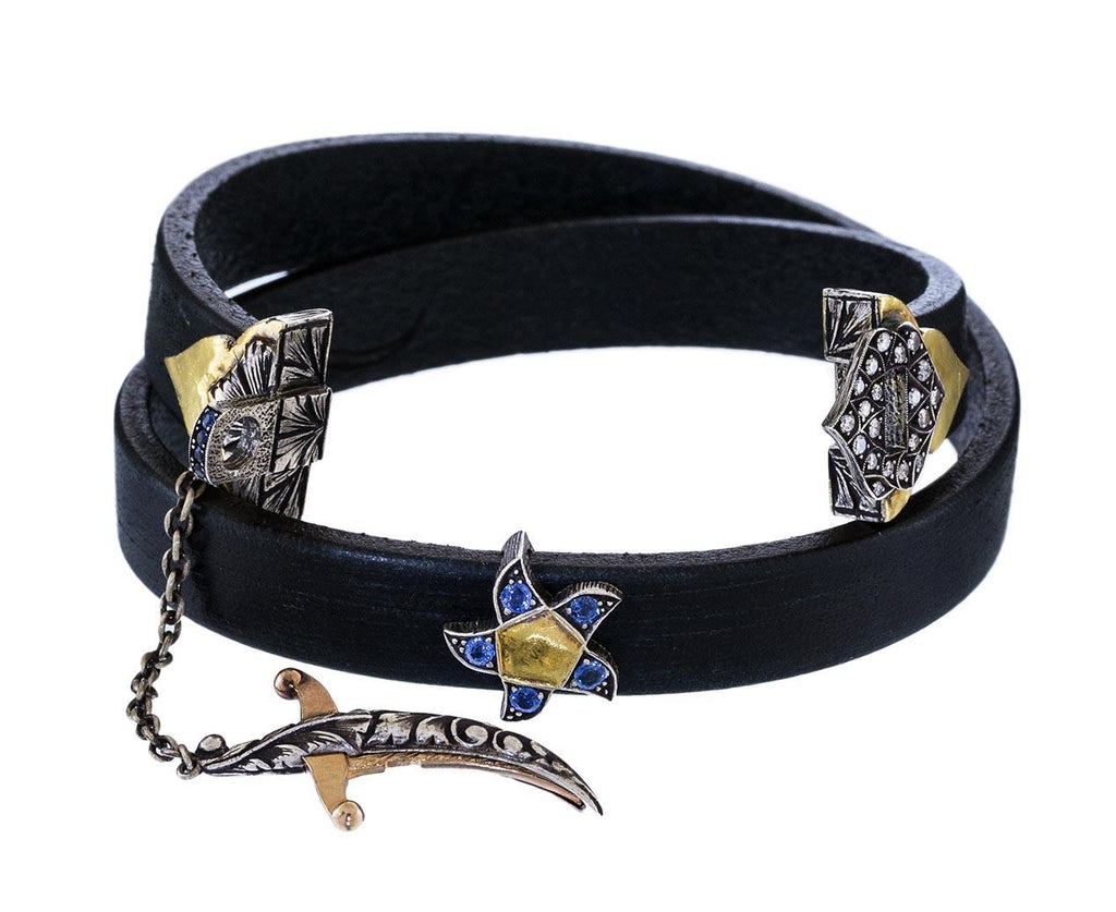 Diamond and Sapphire Sword and Star Wrap Bracelet - TWISTonline