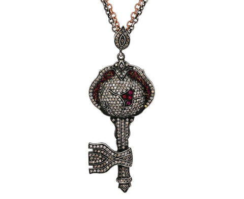 Diamond and Ruby Key Pendant Necklace - TWISTonline