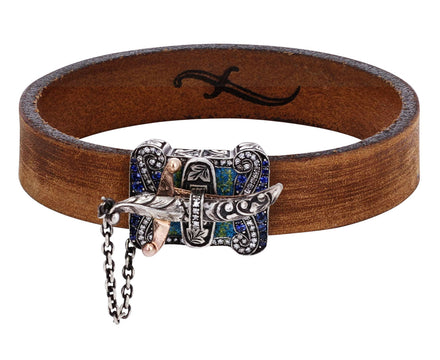 Micro Mosaic and Diamond Sword Closure Leather Bracelet