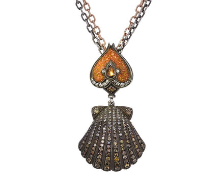 Diamond Pavé Oyster and Pearl Pendant Necklace - TWISTonline