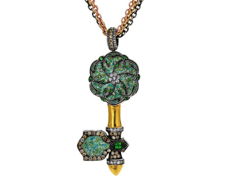 Turquoise Micro Mosaic Key Pendant Necklace - TWISTonline