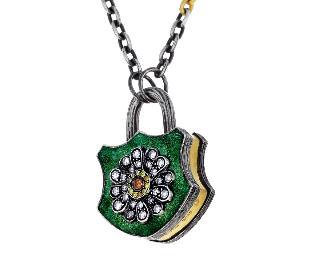 Diamond Flower Padlock Pendant