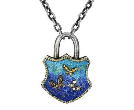 Lapis and Turquoise Micro-Mosaic Butterfly Padlock Pendant - TWISTonline