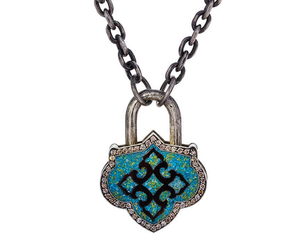 Greek Key Turquoise Diamond Lantern Padlock Pendant - TWISTonline