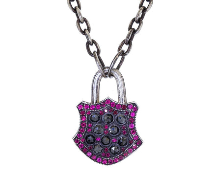 Diamond and Ruby Shield Padlock Pendant - TWISTonline