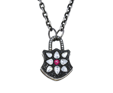 Mixed Diamond and Ruby Shield Padlock Pendant - TWISTonline