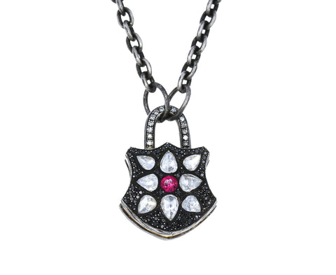 Mixed Diamond and Ruby Shield Padlock Pendant