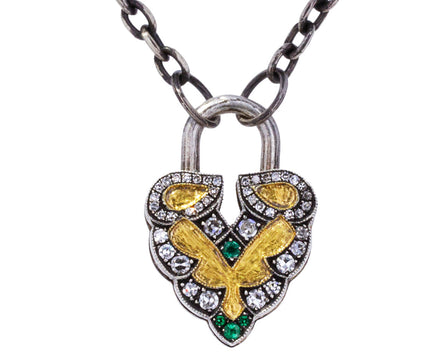 Emerald and Diamond Aspen Leaf Padlock Pendant