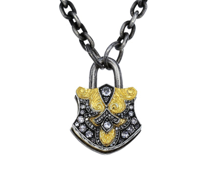 Diamond Shield Padlock Pendant - TWISTonline